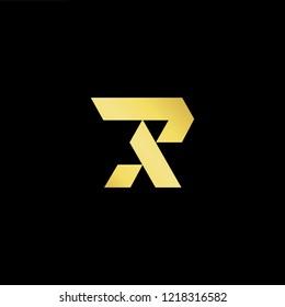 Initial letter R RA AR minimalist art logo, gold color on black background.