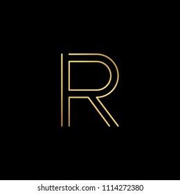 Initial letter R RR minimalist art logo, gold color on black background