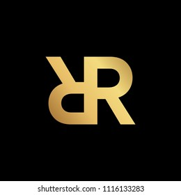 Initial letter R RR minimalist art monogram shape logo, gold color on black background