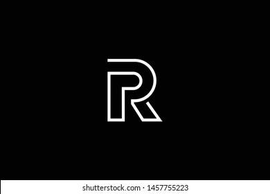 Initial letter R RR RP PR minimal monogram art logo, white color on black background.
