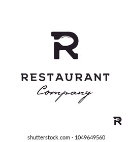 Initial Letter R with Spoon Fork for Restaurant logo design