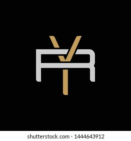 Initial letter R and Y, RY, YR, overlapping interlock logo, monogram line art style, silver gold on black background