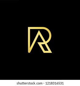 Initial letter RA AR minimalist art logo, gold color on black background.