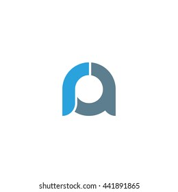 initial letter ra linked round lowercase logo blue