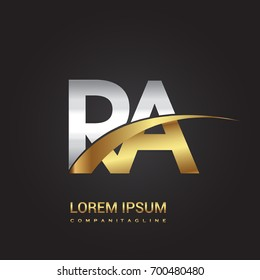 initial letter RA logotype company name colored gold and silver swoosh design. isolated on black background.