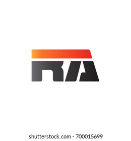 Initial letter RA, straight linked line bold logo, gradient fire red black colors
