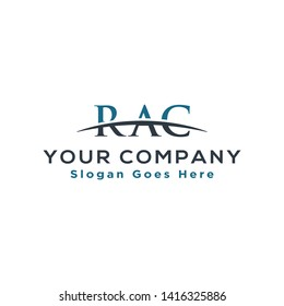 Initial letter RAC, overlapping movement swoosh horizon logo company design inspiration in blue and gray color vector