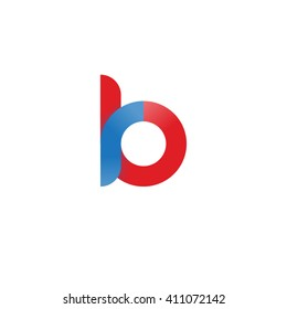 initial letter rb linked round lowercase logo blue red