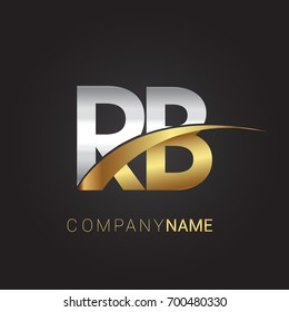 initial letter RB logotype company name colored gold and silver swoosh design. isolated on black background.
