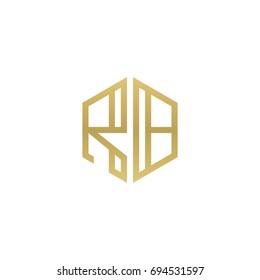 Initial letter RB, minimalist line art hexagon shape logo, gold color