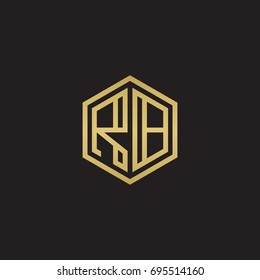 Initial letter RB, minimalist line art hexagon logo, gold color on black background