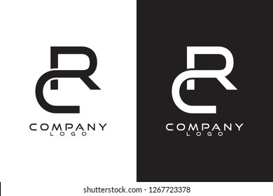 Initial Letter rc/cr Logo Template Vector Design with black and white background