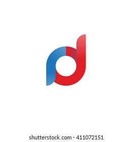 initial letter rd linked round lowercase logo blue red