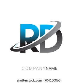 initial letter RD logotype company name colored blue and grey swoosh design. logo design for business and company identity.