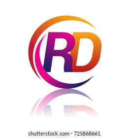 initial letter RD logotype company name orange and magenta color on circle and swoosh design. vector logo for business and company identity.