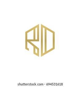Initial letter RD, RO, minimalist line art hexagon shape logo, gold color