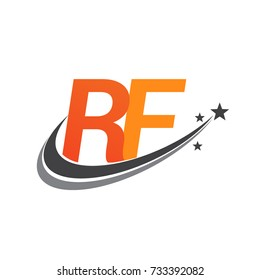 initial letter RF logotype company name colored orange and grey swoosh star design. vector logo for business and company identity.