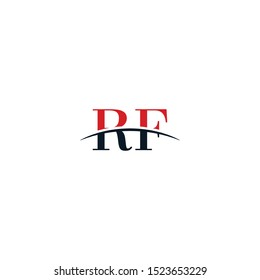 Initial letter RF, overlapping movement swoosh horizon logo company design inspiration in red and dark blue color vector
