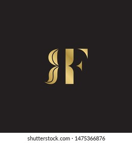 Initial letter rf uppercase modern logo design template elements. Gold letter Isolated on black  background. Suitable for business, consulting group company.