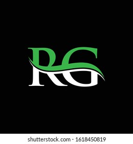 Initial Letter RG Logo Design Vector Template. RG Letter Logo White, Green With Black Background