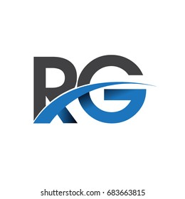 initial letter RG logotype company name colored blue and grey swoosh design. vector logo for business and company identity