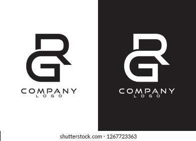 Initial Letter rg/gr Logo Template Vector Design with black and white background