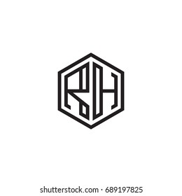Initial letter RH, minimalist line art monogram hexagon logo, black color