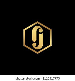 Initial letter RJ JR minimalist art hexagon shape logo, gold color on black background
