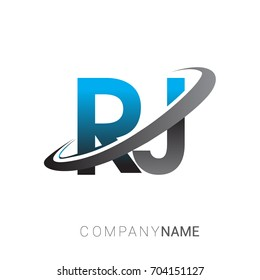 initial letter RJ logotype company name colored blue and grey swoosh design. logo design for business and company identity.