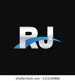 Initial Letter RJ Overlapping Movement Swoosh Logo Metal Silver Blue Color On Black Background