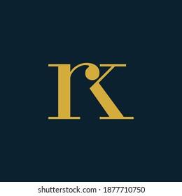 Initial Letter RK or KR typography logo design vector