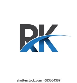 initial letter RK logotype company name colored blue and grey swoosh design. vector logo for business and company identity.