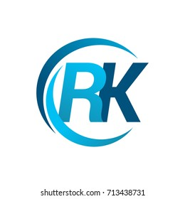 initial letter RK logotype company name blue circle and swoosh design. vector logo for business and company identity.