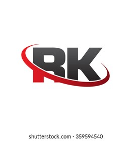 initial letter RK swoosh ring company logo red black