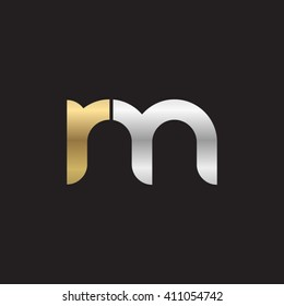 initial letter rm linked round lowercase logo gold silver black background