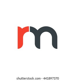 initial letter rm linked round lowercase logo red