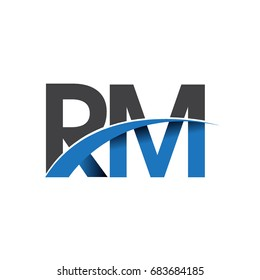 initial letter RM logotype company name colored blue and grey swoosh design. vector logo for business and company identity.