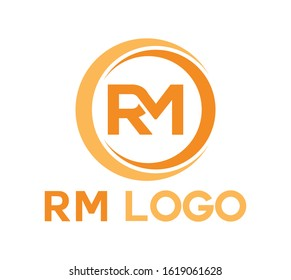 Initial letter RM modern linked circle round Uppercase logodesign template suitable for company logo, print, digital, icon, apps, and other marketing material purpose