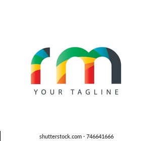 Initial Letter RM Rounded Design Logo