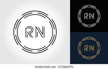 Initial Letter RN Logo Creative Typography Vector Template. Digital Abstract Letter RN Logo Design