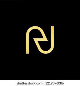 Initial letter RN NR minimalist art logo, gold color on black background.