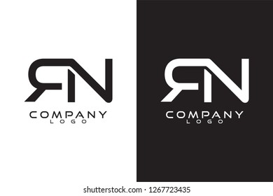 Initial Letter rn/nr Logo Template Vector Design with black and white background