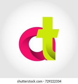 Initial Letter AT Rounded Lowercase Logo. Logo template.