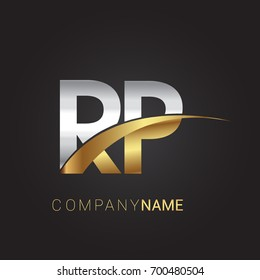 initial letter RP logotype company name colored gold and silver swoosh design. isolated on black background.