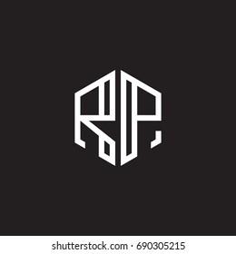 Initial letter RP, minimalist line art monogram hexagon shape logo, white color on black background