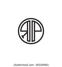 Initial letter RP, minimalist line art monogram circle logo, black color