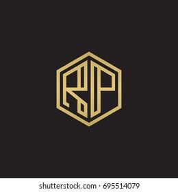 Initial letter RP, minimalist line art hexagon logo, gold color on black background