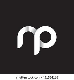 initial letter rp modern linked circle round lowercase logo white black