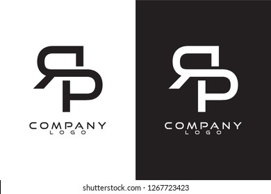 Initial Letter rp/pr Logo Template Vector Design with black and white background