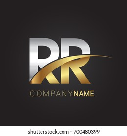 initial letter RR logotype company name colored gold and silver swoosh design. isolated on black background.